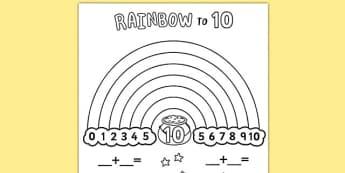 Rainbow to 10 Worksheet / Activity Sheet - rainbow, 10, worksheet / activity sheet, activity, sheet, worksheet