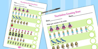 Thumbelina Counting Sheet - stories, story books, maths, count