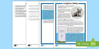 Greyfriars Bobby Differentiated Reading Comprehension Activity - CfE, Greyfriars Bobby, Scotland, Scottish, Skye terrier, loyalty, friendship, Edinburgh, tools for r