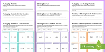 Multiplying and Dividing Decimals Resource Pack - Multiplying Decimals, Dividing Decimals, Multiplying Decimals by a whole number, multiplying decimal