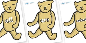 Tricky Words on Old Teddy Bears - Tricky words, DfES Letters and Sounds, Letters and sounds, display, words