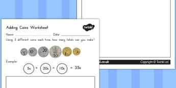 Adding Coins Worksheet - australia, adding, coins, worksheet