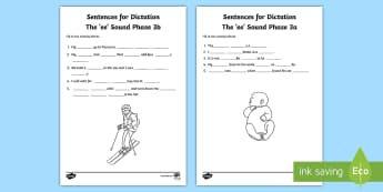 Northern Ireland Linguistic Phonics Stage 5 and 6, Phase 3a and 3b, 'ee' Dictation Sentences Activity - Linguistic Phonics, Stage 5, Stage 6, Phase 3a, Phase 3b, Northern Ireland, sentences, dictation, wo