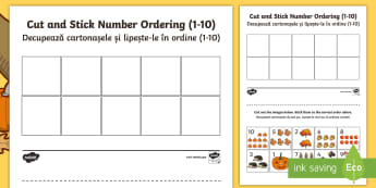 Autumn Themed Cut and Stick Number Ordering 1-10 Activity Sheets - English/Romanian - Autumn Themed Cut and Stick Number Ordering Sheets 1-10 - autumn, worksheets, cut, stick, number, or