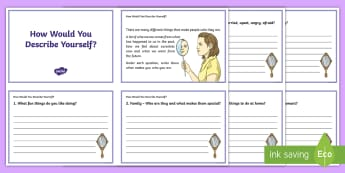 How Would You Describe Yourself? Activity Sheet - emotions, young people, families, transition, PSHCE, self-esteem, worksheet
