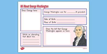 George Washington Graphic Organizer - presidents day, george washington worksheet, graphic organizer