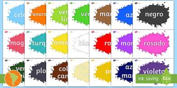 Pósters: Los colores - colores en español, colores, amarillo, azul, rojo, verde, morado, blanco, negro, colors in spanish
