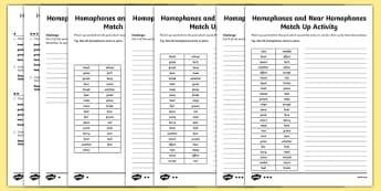 Years 3 and 4 Homophones and Near Homophones Differentiated Match Up Activity Sheet Pack, worksheet