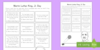 Martin Luther King, Jr. Quote Reflection Activity - Martin Luther King Jr, Dr. King, MLK, Civil Rights, Black History