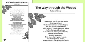 The Way Through the Woods by Rudyard Kipling Poem - poem, poetry