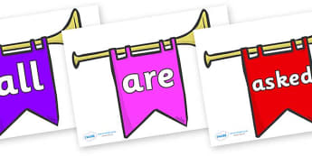 Tricky Words on Banners - Tricky words, DfES Letters and Sounds, Letters and sounds, display, words