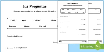 Question Words Activity Sheet - Spanish, KS2, vocabulary, basic, questions, words, writing, activity, sheet, literacy, worksheet, ac