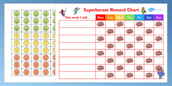 Superheroes Reward Sticker Chart - superheroes, reward, sticker