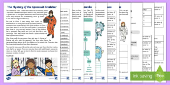 KS1 The Mystery of the Spacesuit Snatcher SPaG Problem-Solving Game - spelling, punctuation, grammar, year 2, SPaG, Appendix 1, suffix, word class, early finishers, spag