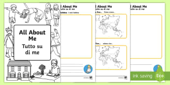 All About Me Booklet English/Italian - All About Me Booklet - information, workbook - All About Me Booklet - information, workbook, ourselves, book, oursleves, ourselvs, all bout me