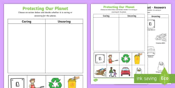 F-2 Protecting our Planet Activity Sheet - Plastic Bottles, Sustainability, Recycle, Reduce, Reuse, Refuse, Environment, care, protect, planet,