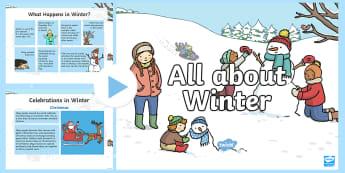 All About Winter PowerPoint -  Hibernation, Migration, Winter Holidays, Hanukkah, Christmas, Winter Sports, Winter Activities, Sea
