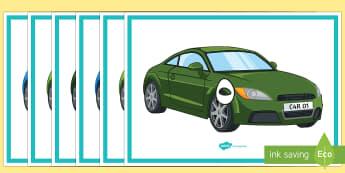 ملصقات عرض الأرقام مع رسومات السيارات من 0 إلى 30  - حساب، عد، رياضيات، 0، 30، وسائل عرض,Arabic
