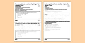 Tecnologías & Redes sociales Juego de rol Higher Tier - spanish, Tecnology, social media, speaking, higher, role-play, tecnologías, redes sociales, Facebook