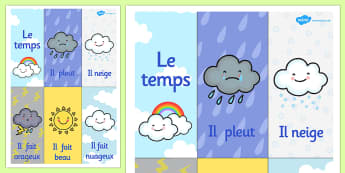French Weather Poster - French, Weather, Poster, Display, Rain
