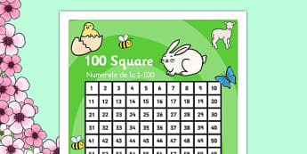 Spring Theme 100 Square Romanian Translation - romanian, number square, number, square, numeracy, maths, math, spring, spring themed, spring number square, spring 100 square, numbers, counting on, counting back, times tables, addition, subtraction, n