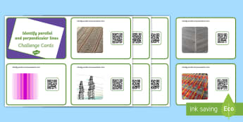 Year 3 Identify Parallel and Perpendicular Lines Code Hunter - QR Codes, lines, parallel, perpendicular, geometry