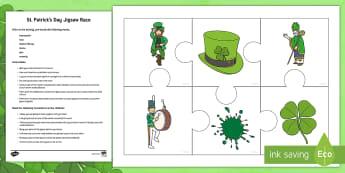 St. Patrick's Day Jigsaw Race Activity - Saint Patrick, games, vocabulary, lesson, gaeilge, seachtain na gaeilge, infants
