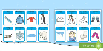 Winter Words and Pictures Flashcards English/Mandarin Chinese - winter, visual aids, cards, EAL