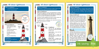 KS1 All About Lighthouses Differentiated Fact File - danger, warning, seafarer, boats, beacon