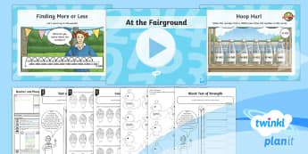 Y4 Number and Place Value Lesson Pack Finding More or Less (2) - 1000 more or less, greater than 1000, fairground, themed, maths, concrete materials, base 10, singap