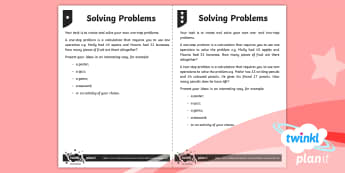 PlanIt Maths Y3 Addition and Subtraction Solving Problems Home Learning Tasks
