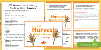 KS2 Harvest Mastery Maths Challenge Cards - Autumn, Food, Crops, Problem, Vegetables