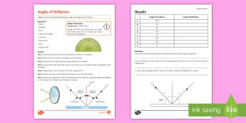 Angles of Reflection Investigation Instruction Sheet  - practical, physics, light, reflection, incidence, light wave, incidence, measure