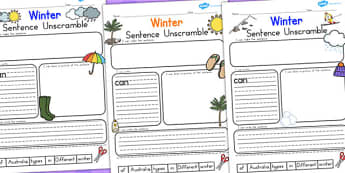 Winter Sentence Unscramble Temperate - seasons, literacy, winter