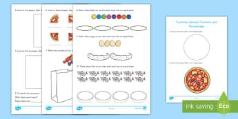 Early Level Assessments Activity Sheet - math, fractions, percentages, decimal fractions, activity sheet,Scottish, worksheet