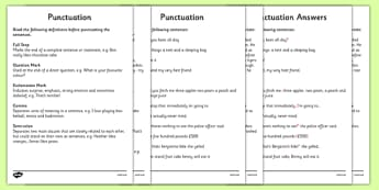 Punctuation Activity Sheets - punctuation, punctuation worksheet, punctuation and grammar, ks2 punctuation, ks2 literacy worksheets, punctuation definitions