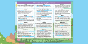 EYFS Brenda's Boring Egg Enhancement Ideas EYFS Enhancement Ideas - EYFS, Early Years Planning, Twinkl Originals, Twinkl Fiction, Brenda, Ducks, Ducklings, Egg, Nest, S