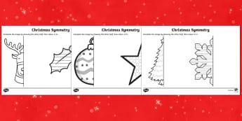 Christmas Themed Symmetrical Activity Sheets