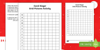 Carol Singer Grid Picture Worksheet / Activity Sheet