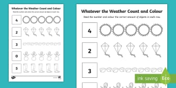 Whatever the Weather Count and Colour Activity Sheet - exploring my world, sun, rain, wind, snow, seasons, clothes, aistear, numeracy, worksheet