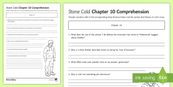 'Stone Cold' Chapter 10 Comprehension Activity Sheet - Swindells, Comprehension, Shelter, Link, Assess