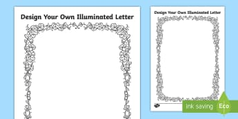 Design Your Own Illuminated Letters Activity Sheets - UKS2, LKS2, negative, positive, number, zero, Worksheets, forwards, backwards, context, calculate