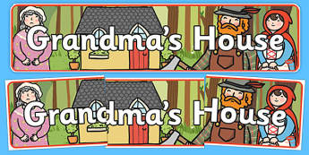 Little Red Riding Hood Grandma's House Display Banner - little red riding hood, grandmas house