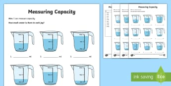 Year 2 Measure Volume Differentiated Worksheet / Activity Sheets - reading scales, measuring, jugs, liquid,