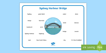 Sydney Harbour Bridge Word Mat - Vocabulary, Spelling, Australian landmark, Australian geography, Australian history,Australia