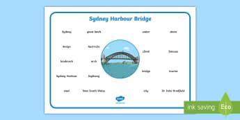 Sydney Harbour Bridge Word Mat - Vocabulary, Spelling, Australian landmark, Australian geography, Australian history,Australia