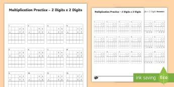 2 Digit x 2 Digit Multiplication Practice Activity Sheet - 2 Digit x 2 Digit Multiplication Practice Activity Sheet - long multiplication, practice, 2 digits,