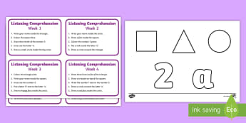 Listening Comprehension Early Level Activity - CfE, SALT, listening skills, following instructions, receptive language