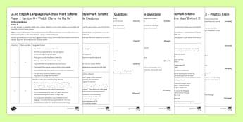 AQA P1 Reading Booklet (3) Mini Exam Pack - AQA P1 Reading Booklet, paper one, exam preparation, revision.