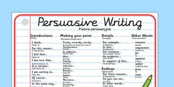 Persuasive Writing Word Mat Polish Translation - polish, writing, write, word mat, keywords